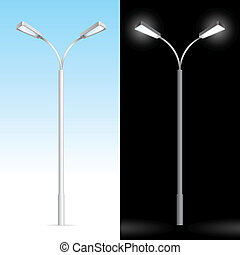 Streetlight. Illustration on blue and black background