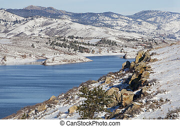 mountain lake in winter scenery - Horsetooth REservoir in...