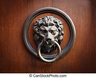 Lion Head Door Knocker - Doorknocker with head of lion