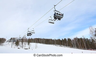 ski elevator at ski resort. fast motion