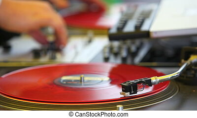 vinyl record spining - vinyl record spinning. close up