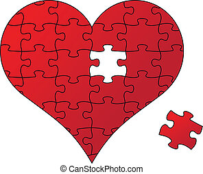 red puzzle heart, vector - red jigsaw heart and piece,...