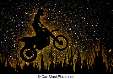 MX Rider silhouette on night sky