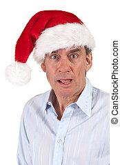 Shocked Surprised Man in Santa Hat