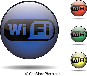 Wi-fi rounded logo - Wi-fi vector logo in different colors...