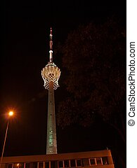 Biggest basket in the world on TV tower and fireworks. -...