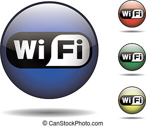 Wi-fi black and white rounded logo - Wi-fi vector logo in...