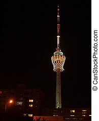 Biggest basket in the world on TV tower and fireworks. - TV...
