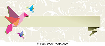 Origami hummingbird group banner floral design