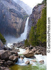 Yosemite valley falls - Yosemite lower fall in spring with a...