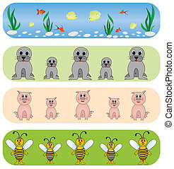 Set elegance and universal animals backgrounds.Vector.
