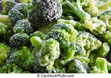 Frozen broccoli background from the fridge