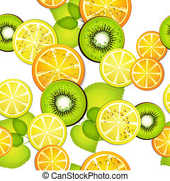 Seamless pattern with fruits - Seamless pattern with slice...