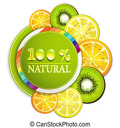 Slice of fruits - Slice of orange, kiwi, and lemon with...