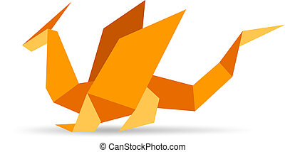 Funny stylish orange origami dragon - Ready to use...