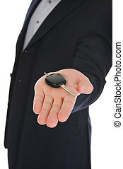 Businessman gives the keys to the car Isolated on white