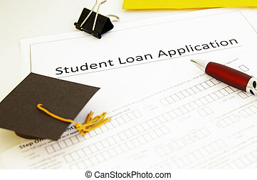 student loan application form and mini graduation  cap