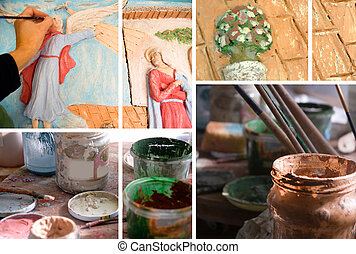 Ceramic art studio - collage, ceramic art studio, mural and...