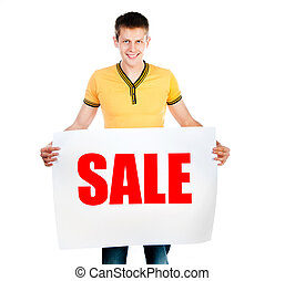man holding rd sale - handsome young man holding big red...