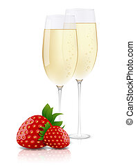 Champagne & strawberries - Vector picture champagne and...