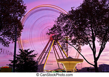 Ferris wheel at county fair, Karlsruhe, Germany
