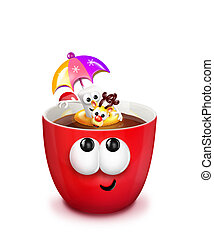 Mug with Hot Chocolate and Floaty - A cartoon mug with a...