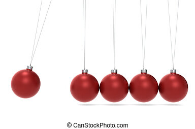 Christmas Cradle - Newtons cradle Christmas Edition. Green...