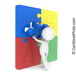 SEO - 3d little human character with a Placing the last...