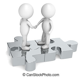 Handshake - 3d little human character X2 shaking hands on a...