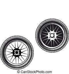 Car wheels and tyres isolated on white background