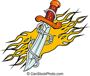 Dagger with barbed wire and flames tattoo
