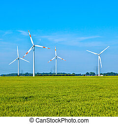 Wind energy wowers standing in the field in spring