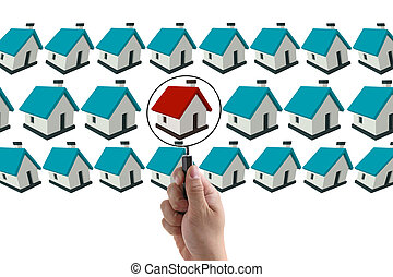 Finding house concept - man hand finding house in real...