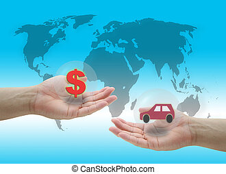 buying Car - man hold dollar cash money for buying new Car...