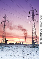 Pollution energy and industry concept