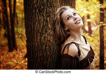 jovem, Feliz, mulher, pensativo, natureza