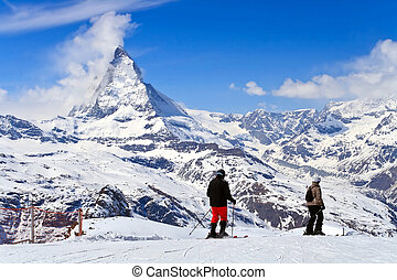 Sjier at Matterhorn Switzerland - Landscape of Ski and...