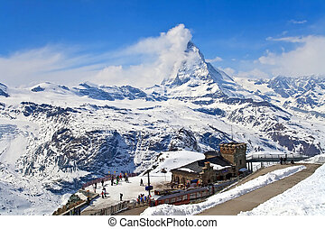 Landscape of Gornergrat Train Station and Matterhorn peak,...