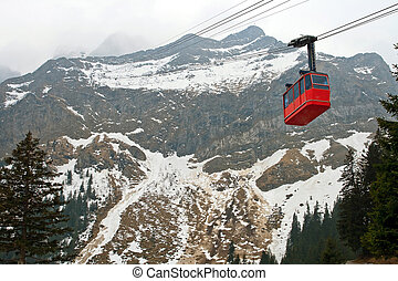 Red cable car Switzerland - Red cable car railway and...