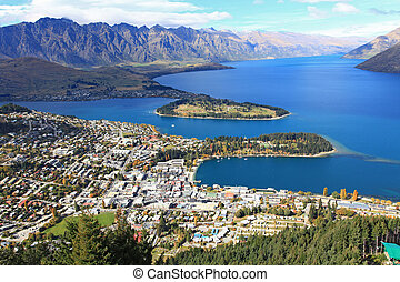 Queenstown cityscape from top - Cityscape of queenstown with...