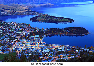 queenstown downtown at dusk - aerial view of queenstown...