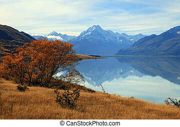 landscape of mountain Cook with its reflection from Lake...
