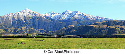 southern alpine alps in New Zealand - panaramic of great...