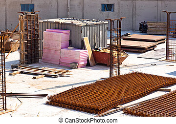 material at a construction site for the base of a new house