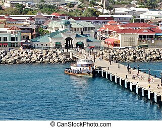 St. Kitts port - Coastal view of the port at the island of...