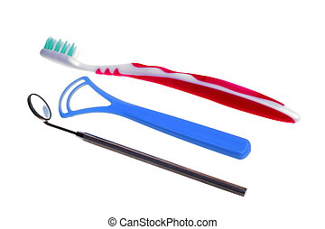 toothbrush Medical Mirror with Reflection - toothbrush,...