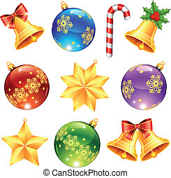 Bright Christmas decorations - Collection of bright...