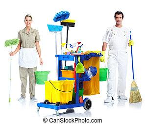 limpiador, hombre, mujer
