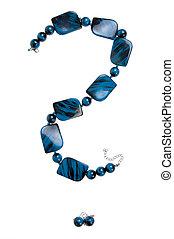 question mark - blue necklace
