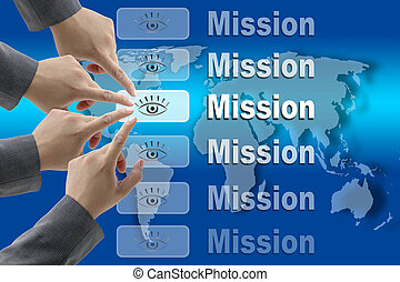 Business Mission Team - business team pushing on Mission...